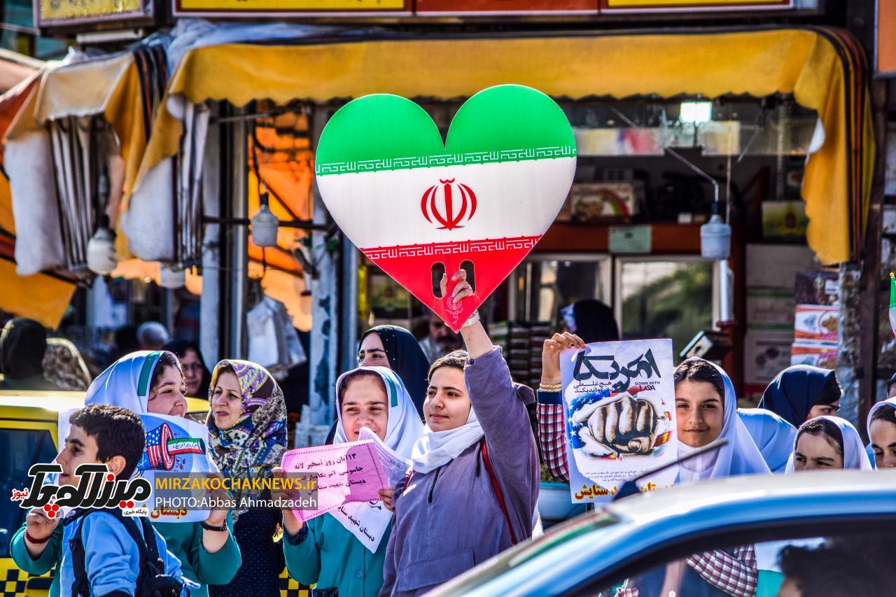 راهپیمایی ۱۳ آبان در صومعه سرا به روایت تصویر